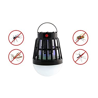 Solar Powered & USB Charging Bug Zapper & Camping Lantern 2 In 1 Night LED Light Bulb Lamp & Mosquito Trap Insect Killer Repellent Fly Pest Control Rechargeable Portable For Indoor Outdoors Traveling