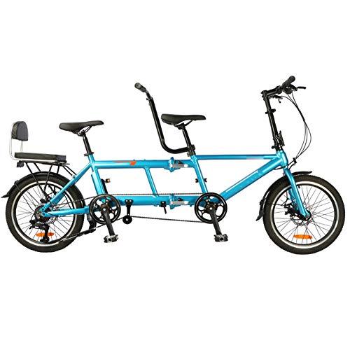 GzxLaY Bicicleta tándem de una Sola Velocidad Plegable portátil Ultraligera de 20 Pulgadas, Bicicletas de Viaje con Freno de Disco Plegable,A