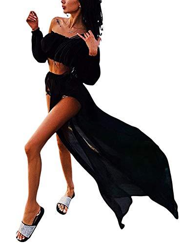 Loalirando 2 Pezzi Bikini Beach Cover Up Costume da Bagno Donna Estivo Copricostume da Spiaggia Top a Maniche Lunghe con Spalle Scoperte e Gonna Coprispalle (Nero, Taglia Unica)