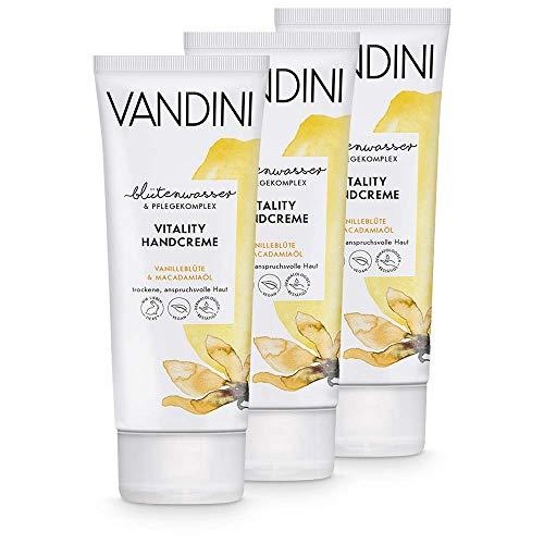 VANDINI Vitality Handcreme Damen mit Vanilleblüte & Macadamiaöl - Intensiv Creme für trockene & anspruchsvolle Haut - vegane Hautpflege für Frauen ohne Silikone, Parabene & Mineralöl (3x 75 ml)