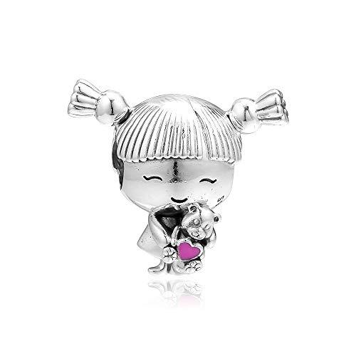 LILIANG Se Ajustan A Las Pulseras De Pandora para Niña con Encantos De Coletas 925 Cuentas De Plata Esterlina Originales para Hacer Joyas