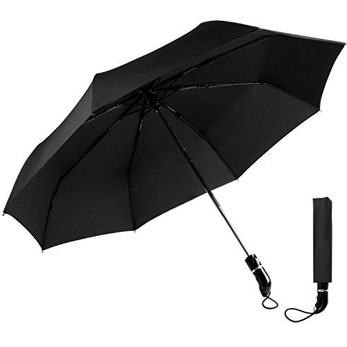 OXA Regenschirm - 105cm Durchmesser Automatischer Regenschirm Klassischen Schwarz Regenschirm mit 210T Stoff Regenschirme für Männer und Frauen