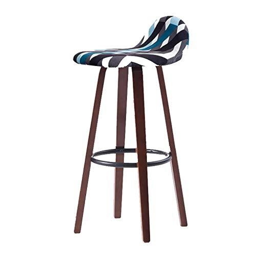 YUXO Bar Stools Counter Chair Modern Bar Stool Solid Wood Bar Chair Simple High Stool Wrought Iron Bar Chair Home Cashier Bar Stool Front High Stool High Stools for Home (Color : B)