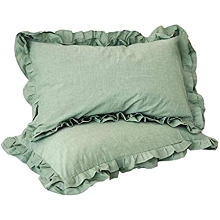 Winlife Ruffle Pillow Shams Solid Color Washed Cotton Soft Envelope Pillow Covers Set Of 2 King Sage Green Home Kitchen