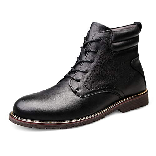CAIFENG Zapatillas de skate para hombre, de piel auténtica, para caminar, citas, viajes, conducción, zapatos casuales, antideslizantes, planos, punta redonda sólida (color negro, talla: 38 EU)