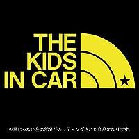 THE KIDS IN CAR 星柄(キッズインカ―)ステッカー パロディ シール 子供を乗せています(12色から選べます) (黄色)