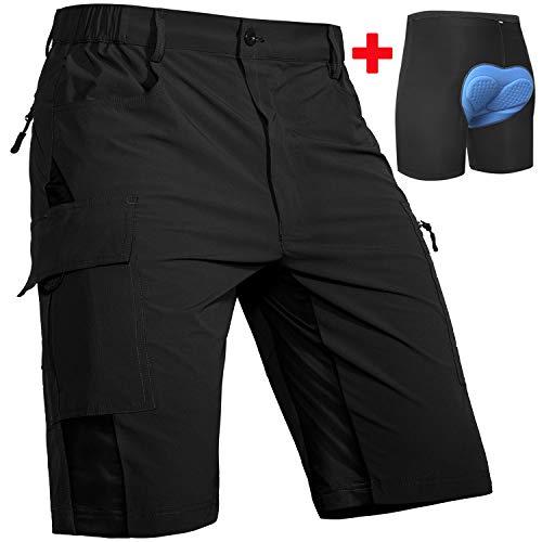 Cycorld MTB Hose Herren Radhose, Schnelltrocknend MTB Shorts mit Sitzpolster, Elastische Farradhose Outdoor Sport Herren MTB Bike Shorts Neu Schwarz mit Unterwäsche XL