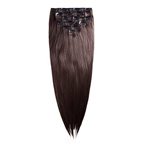 Clip in Extensión de cabello Conjunto - 7 postizos lisos   Extensiónes 60 cm en el color marrón de la marca MyBeautyworld24