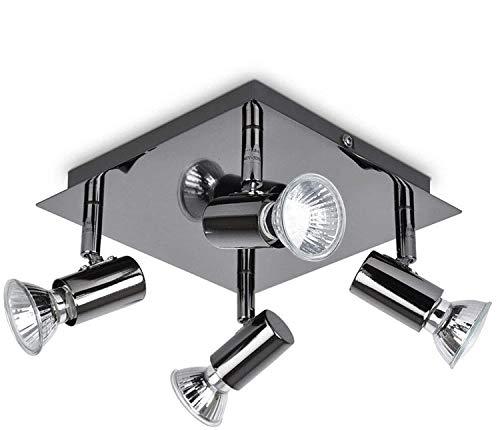 LED-Deckenleuchte, quadratisch, 4-fach verstellbar, für Küche, GU10, Schwarz / Chrom