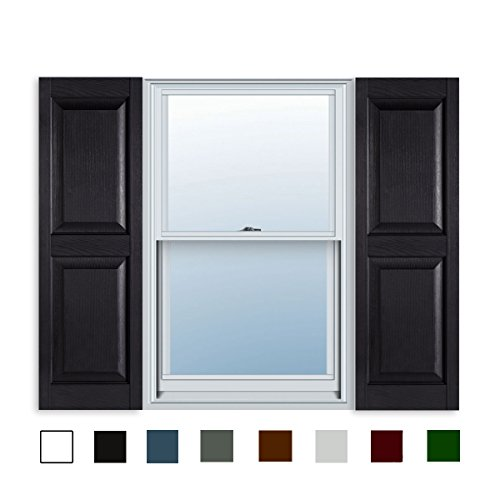 15 Inch x 63 Inch Standard Raised Panel Exterior Vinyl Shutter, Black (Pair)