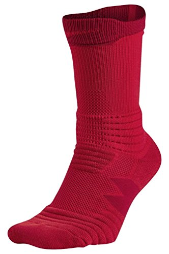 Nike Elite Versatility Crew Adult Basketball Athletic Training Socks (M 6-8, 657 University Red/Gym Red)