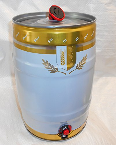 5litros Party Barril de metal con grifo y Combi Tapón Color Blanco/Oro