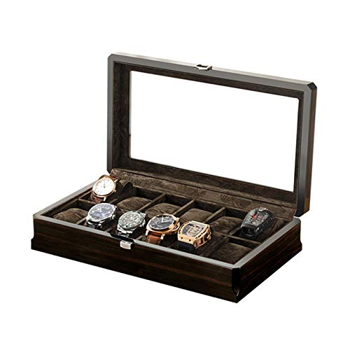 XIUWOUG Caja de madera para reloj con 12 ranuras con placa de cristal, organizador de funda, apto para todos los relojes de pulsera y relojes inteligentes (color negro)