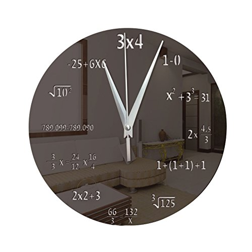 CAheadY Kreative Mathematik Tafel Pop Quiz Uhr Spiegel Oberfläche Home Office Kreis Dekor Black