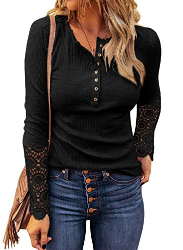LOLONG Womens Sexy V Neck Top Long Sleeve Lace Buttons Blouse Ribbed Henley Tunic Shirts Black