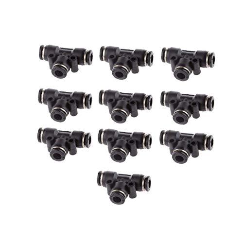ZGYQGOO Rohrleitungsanschluss für pneumatische Geräte Luftleitungsanschluss für Luftleitungen Pneumatische Kunststoffkomponente Schnellmontage Schwarz 10 Stück 6 mm