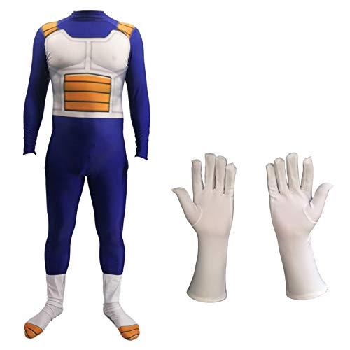 Hope Dragon Ball Z Vegeta Kostüm, Cosplay Kind Erwachsene Siamese Strumpfhosen Kostümfest Halloween Kleidung Dress Up Overall Onesies,A-120~130 cm