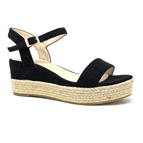 Angkorly - Mode schoenen Klompen Espadrilla Bohemien Chic Vrouw Riem Sluiting Steek Type de talon NL sleehak 9 CM