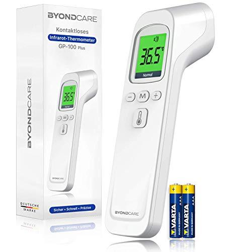 BYONDCARE Infrarot Fieberthermometer kontaktlos für Stirn, Ohr und Oberflächen-Messungen [Badewanne, Nahrung, Raum] geeignet für Erwachsene, Kinder & Baby - Digital Thermometer