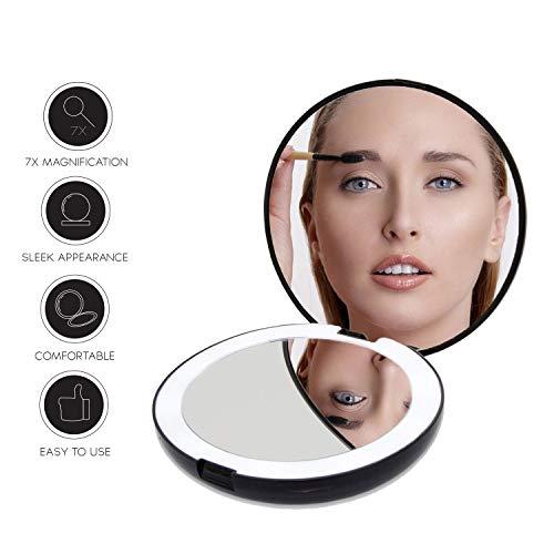 Espejo de maquillaje iluminado, compacto con luces JRA CARE LED, con aumento 1X / 7X -...