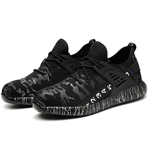 Koyike Zapatos de Trabajo con Gorra de Acero Zapatos de Seguridad con Cordones Ligeros Resistentes a Perforaciones Zapatos Deportivos de Tejido,Black-43