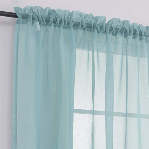 """MYSTIC-HOME Sheer Curtains 45 Inch Length, Rod Pocket Voile Drapes for Living Room, Bedroom, Window Treatments Semi Crinkle Curtain Panels for Yard, Patio, Villa, Set of 2, 52""""x 45"""", Grey Teal"""