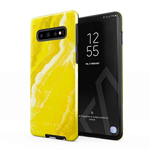 BURGA Phone Case Compatible with Samsung Galaxy S10 Plus - Neon Yellow Marble Citrus Stone Summer Vibes Cute Case for Women Heavy Duty Shockproof Dual Layer Hard Shell + Silicone Protective Cover