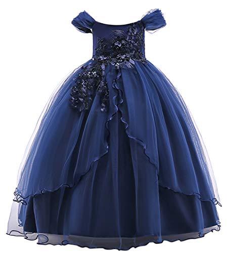 Happy Cherry - Falda Larga de Princesa de Fiesta sin Manga para Niñas Vestido de Nohe Tutú con Lazo para Ceremonia Boda Banquete Azul Oscuro - Talla 150/ES 10-11 Años
