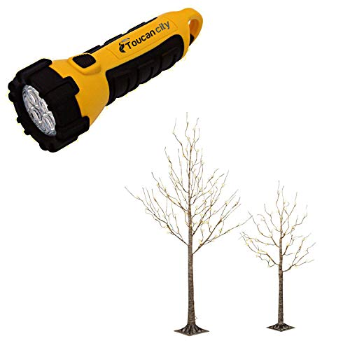 Toucan City LED Flashlight and Gerson 6 ft. H Electric Birch Bark Effect Lighted Tree with LED Warm White Lights 2228780EC