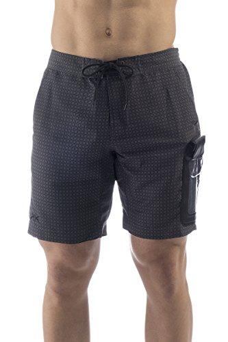 UAKKO Badehose Herren Badeshort Junge mit wasserdichte-Tasche Zertifiziert bis 10m IPX8 Farbe Asphalt (XL)