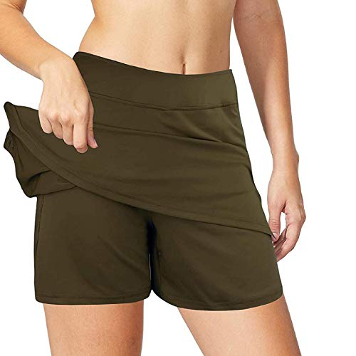 LowProfile 2 in 1 Tennis Skirts Inner Shorts for Women with Pockets, Elastic Sports Golf Skorts Workout Running Skirt Green
