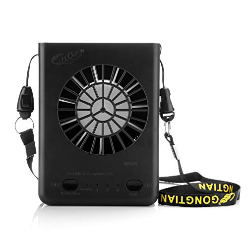 Powza Portable Necklace Multi-Functional Rechargeable Mini Fan 3 Speeds Personal Cooling Fan with 18650 Li-ion Battery & USB Charging & String(Black)