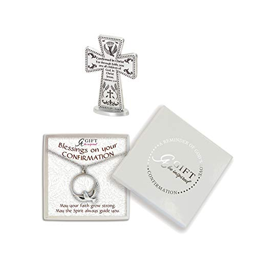 Abbey CA Gift Confirmed Dove Silver Tone 5 inch Metal Confirmation Cross and Necklace