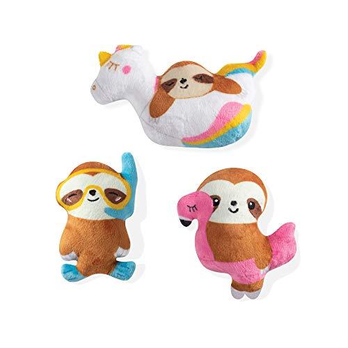 Fringe Studio Pet Toy, Small Dog Toy Set, Summer Sloths, 3 Pieces (289407)