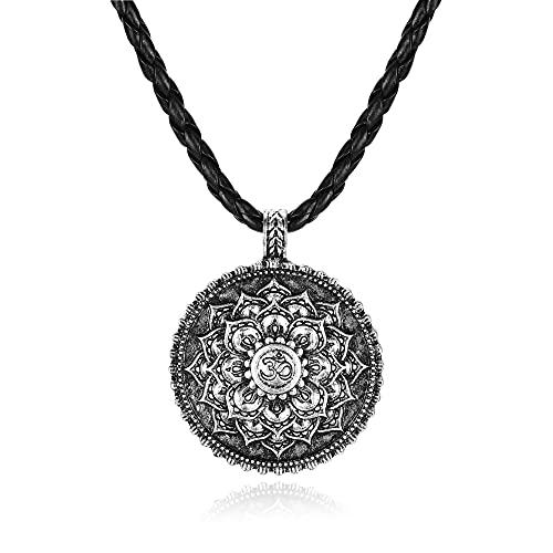 PiercingJak Cadena de la flor de la vida, con cadena de cuero trenzado, aleación de mandala, flor de loto, colgante vintage, collar nórdico, amuleto para hombre y mujer