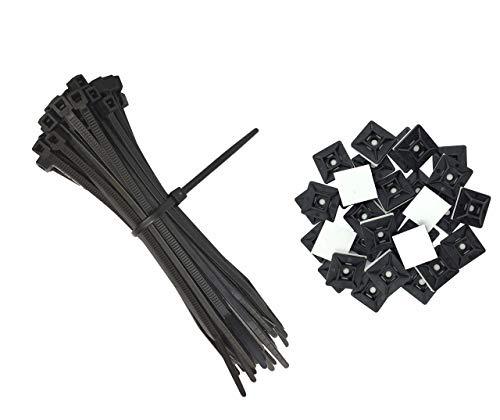 intervisio Bridas de Plastico para Cables 300mm x 3,6mm, Negro, 100 Piezas + Soportes para las bridas de plastico, 19mm x 19 mm, Negras, 100 Piezas
