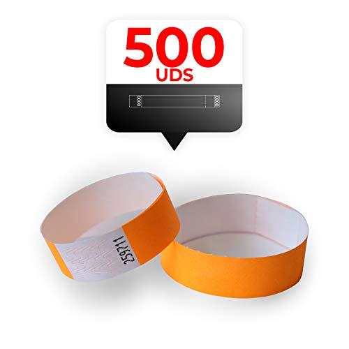 MP - Tyvek Pulseras 500 unidades para Eventos, Color Naranja