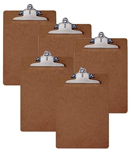 Saunders 05612 Hartfaser Klemmbrett, extra starke Klemme, Schreibplatte aus stabiler Holzfaser, beidseitig geschliffen, braun (5 Stück)