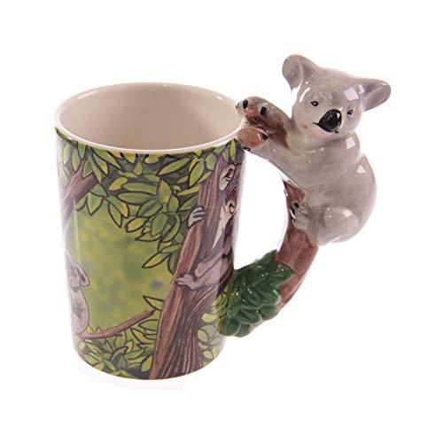 ACYOUNG 3D Keramik Kaffeetassen, Becher mit Tier Griff, Kreativer Lustiger Geschenk-Becher (Koala)