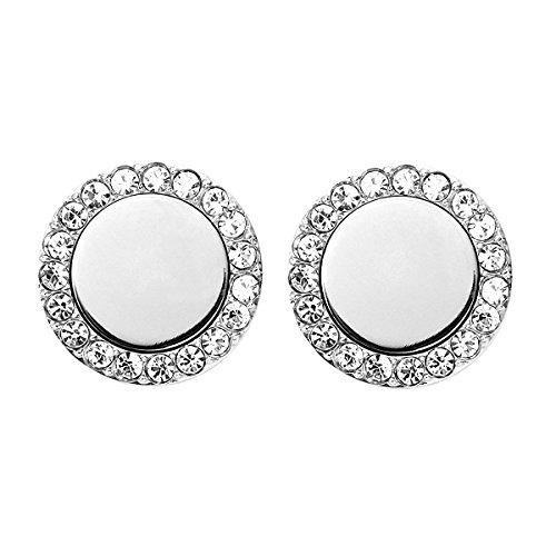 URBANHELDEN - Ohrringe rund mit Zirkonia Kristallen - 1 Paar Edelstahl Ohrstecker Damen Silberschmuck Ohr-Schmuck Studs - Silber