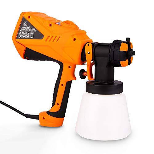 600W Electric Paint Sprayer, Outdoor Fence Home Furniture Use Electric Paint Spray Gun with 1000ml Container, 3 Nozzles Easy Spraying and Cleaning Painting Tool (Orange)