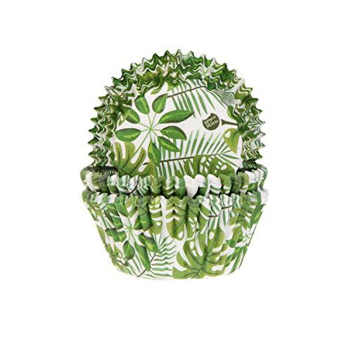 House of Marie 50 Muffinförmchen Blätter   Monstera - Fensterblatt   Palmen   Sommer   aus Papier