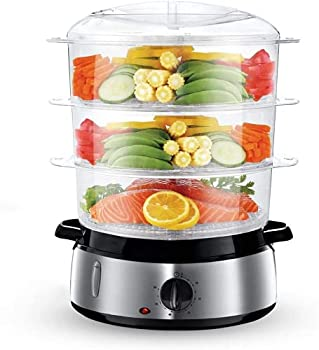Food Steamer For Cooking 9.5 Quart 3-Tier Stackable Baskets Electric Vegetable Steamer BPA-Free with Built-in Egg Holders and Rice Bowl 60-Minute Timer Silver