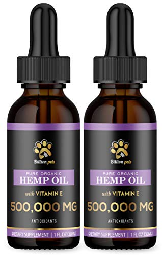 Billion Pets – 2 Pack – Hemp Oil for Dogs and Cats – Calming Oil for Dogs – Vitamin E