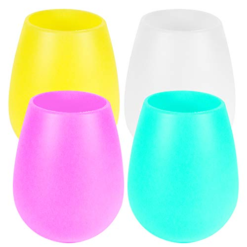 Silicone Wine Glasses Stemless 12oz - Drinkware Shatterproof Unbreakable Rubber Wine Cups for Party,...