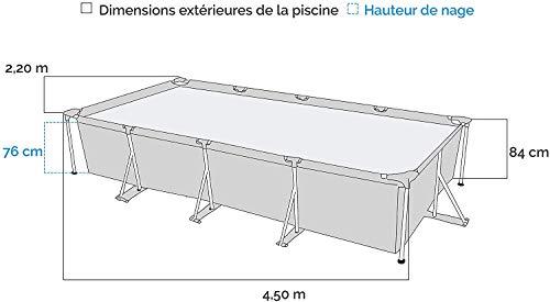 Lenakrui Piscine Hors-Sol Tubulaire Rectangulaire Métal Frame 450x220cm Bleu