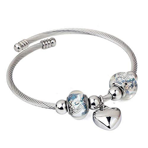 N/A Aniversario del día de la Madre Pulseras de Alambre de Cable Trenzado Cruzado de Cristal con Encanto de corazón de Acero Inoxidable brazaletes para joyería de Mujer