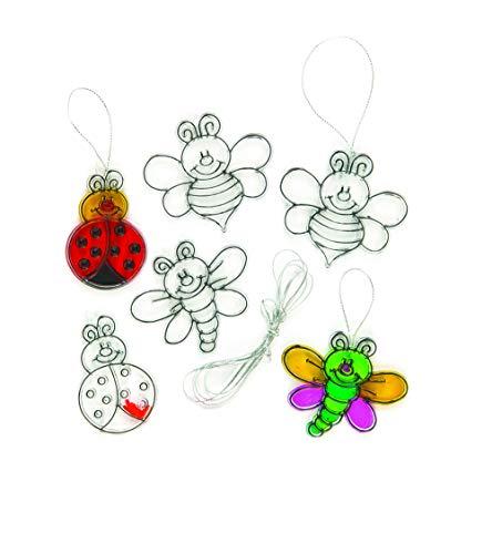 Baker Ross Lot de 12 Mini Décorations Attrape-Soleil Insectes à colorier pour enfants
