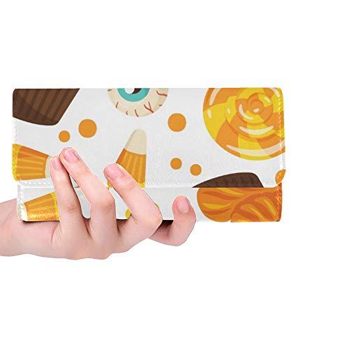 Einzigartige Halloween-Bonbon-Frauen-dreifachgefaltete Mappen-Lange Geldbeutel-Kreditkarte-Halter-Fall-Handtasche