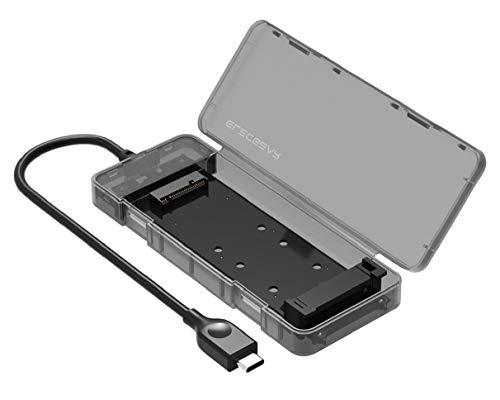 M.2 NGFF SATA SSD to USB 3.1 Type C Gen2 Externes Festplatten Gehäuse, 10Gbps Festplattengehäuse SATA M2 SSD Adapter Caddy Hard Drive Hülle, B Key 2280/2260/2242/2230, Werkzeuglose, USB C Kable